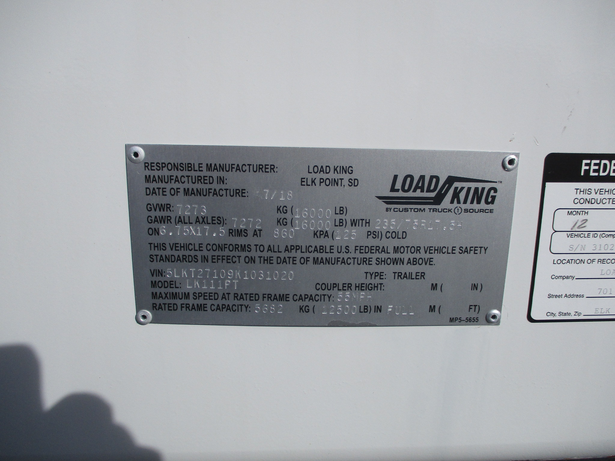2019 LOAD KING POLE TRAILER 5935-SERIAL-NUMBER-PLATE